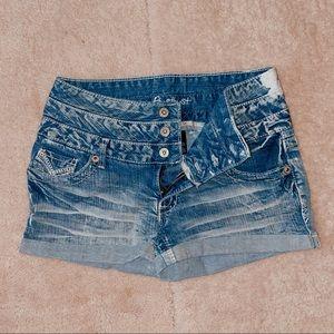 Amethyst Blue Distressed Jean Shorts